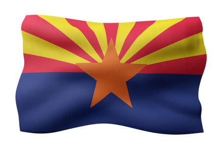 3d rendering of a detailed and textured Arizona USA State flag on white background.