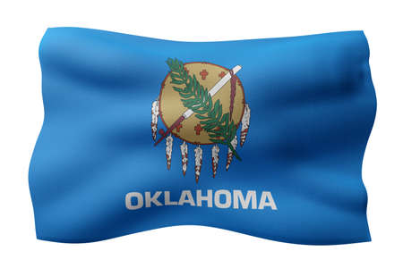 3d rendering of a detailed and textured Oklahoma USA State flag on white background.