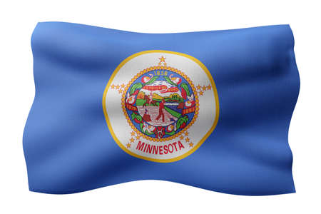 3d rendering of a detailed and textured Minnesota USA State flag on white background.