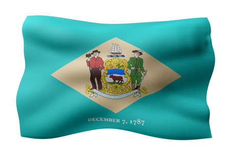 3d rendering of a detailed and textured Delaware USA State flag on white background.