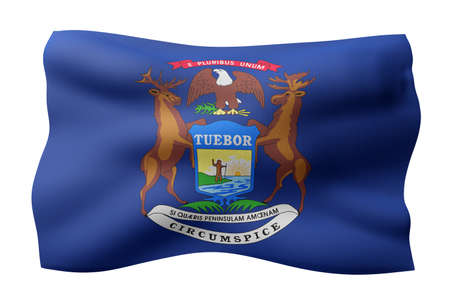 3d rendering of a detailed and textured Michigan USA State flag on white background. Фото со стока
