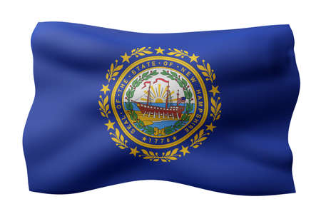 3d rendering of a detailed and textured New Hampshire USA State flag on white background.