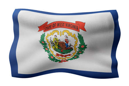 3d rendering of a detailed and textured West Virginia USA State flag on white background. Фото со стока