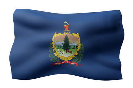 3d rendering of a detailed and textured Vermont USA State flag on white background. Фото со стока
