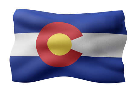 3d rendering of a detailed and textured Colorado USA State flag on white background.