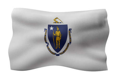 3d rendering of a detailed and textured Massachusetts USA State flag on white background. Фото со стока