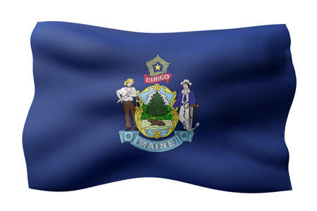 3d rendering of a detailed and textured Maine USA State flag on white background.