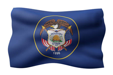 3d rendering of a detailed and textured Utah USA State flag on white background. Фото со стока