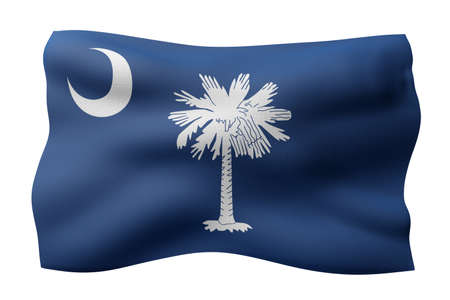 3d rendering of a detailed and textured South Carolina USA State flag on white background.