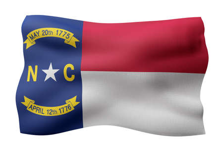 3d rendering of a detailed and textured North Carolina USA State flag on white background.