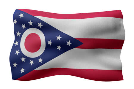 3d rendering of a detailed and textured Ohio USA State flag on white background. Фото со стока