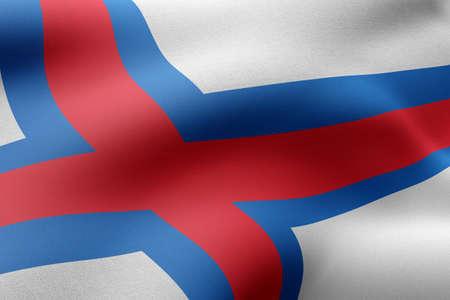 3d rendering of Faroe Islands flag waving