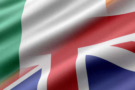 3d rendering of Ireland and United Kingdom flags mixed. Concepts of diplomatic cooperation.