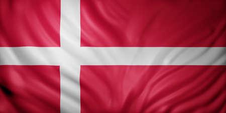 3d rendering of a detail of a silked Denmark flag Stock fotó