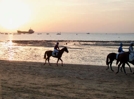 Horse racing on the beach of Las Piletas, at the mouth of the Guadalquivir river with the Donana National Park in front of Sanlucar de Barrameda. Photograph taken in August 2017.
