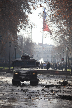 demonstration: Chilean police Armored Vehicle on the street during a student strike in Santiagos Downtown