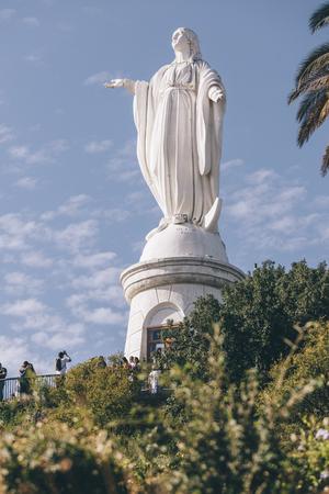 Santiago, Chile - February 9, 2017: Virgin Statue od Inmaculada Concepcion in Cerro San Cristobal, Santiago de chile