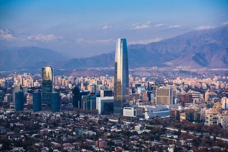 Finanzbezirk in Santiago, Chile. Costanera Center Standard-Bild
