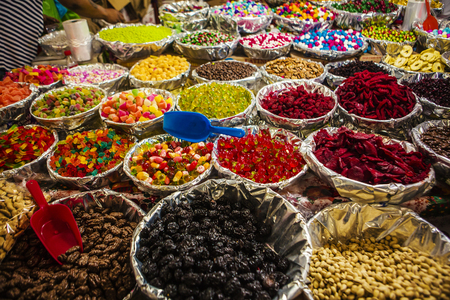 Snacks Such as peanuts, jelly beans and candies are sold at market in Mexico City.Mercado Jamaica.