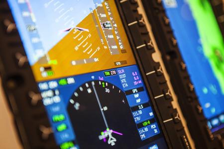 Detail van het vliegtuiginstrument. Luchtvaarttechnologie