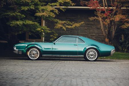 Classic american car parked Фото со стока