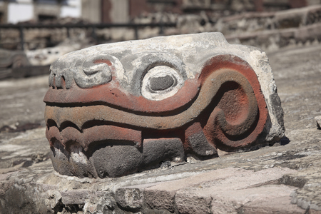 Feathered Serpent Head in Templo Mayor, Tenochtitlán, Mexico City Stock Photo