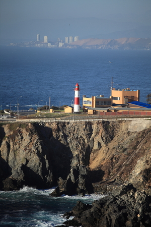 Punta Angeles Lighthouse, Valparaiso, Chile.The first lighthouse built in Chile in 1837, at a place called Punta Angeles, Where now stands the Naval Academy Arturo Prat. Фото со стока
