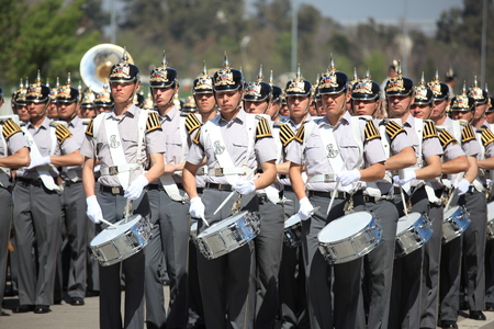 batallón: Santiago, Chile - September 15, 2011: Military school cadets marching in a rehearsal of the great military parade in commemoration of the independence of Chile. Editorial
