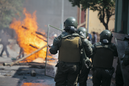 Riot Police during a student strike in Santiago, Chile.