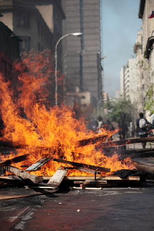 Barricade on fire during a student strike in Santiago, Chile.