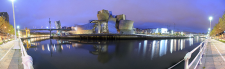 Bilbao, Spain - May 03, 2009: Guggenheim Museum Bilbao at night. Guggenheim Museum Bilbao is a museum of modern and contemporary art designed by Canadian-American architect Frank Gehry in 1997, located in Bilbao, Basque Country, Spain
