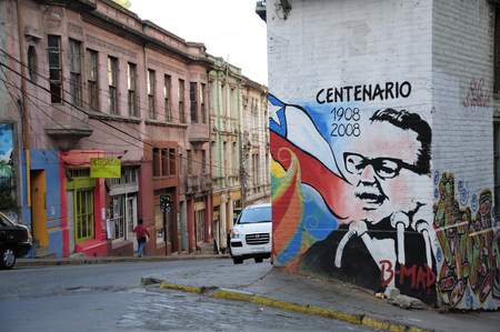salvador allende: VALPARAISO, CHILE - SEPTEMBER 24, 2008: Colourful graffiti, of a Former President of Chile Salvaror Allende, on a house in Valparaiso, Chile.