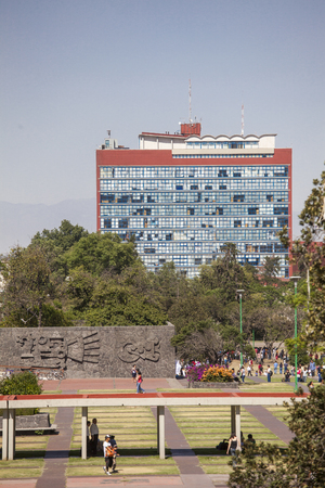 Mexico City, Mexico - May 30 2012: Central University Campus of the National Autonomous University Mexico,   Site. In one of the icons of modern Most Significant urbanism and architecture in the country and the region. The image shows the Building called