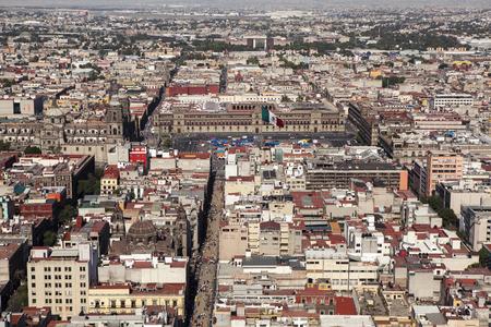 aerial view of mexico city, zocalo square and metropolitan cathedral Фото со стока