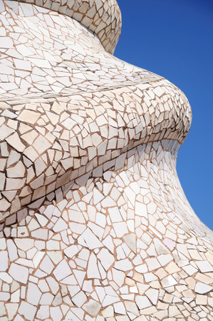 Beautiful mosaic at the roof of la pedrera by Antoni Gaudi