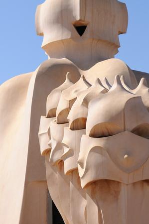 Chimneys of Casa Mila (la Pedrera) in Barcelona, by Antoni Gaudi. Редакционное