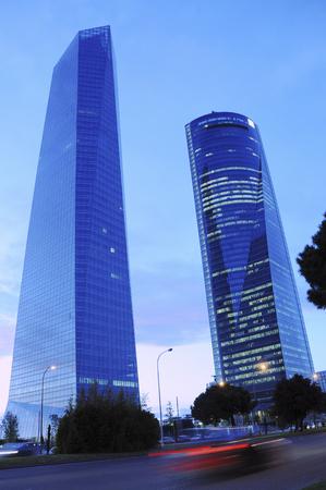 Modern office buildings at night, Madrid, Spain