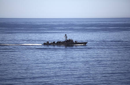 Chilean naval vessel in the sea. Редакционное