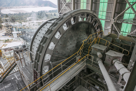 A ball Mill inside of a copper processing industry.