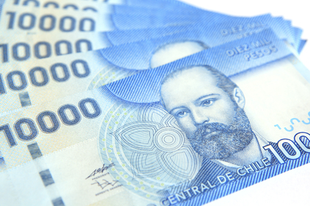 Macro shot of Chilean peso bills. $ 10,000The character of the $ 10,000 bill is Arturo Prat naval hero Who Died in the Naval Battle of Iquique (Pacific War) on May 21, 1879