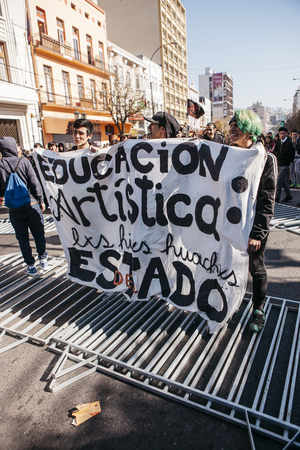 Valparaiso, Chile - June 01, 2017: Protests in Valparaiso, following President Michelle Bachelets annual state-of-the-union speech to Congress.