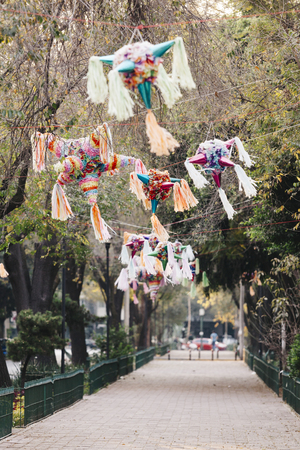 Pinatas in the street, Mexico City