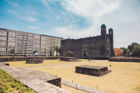 Plaza de las Tres Culturas (Three Culture Square) at Tlatelolco - Mexico City, Mexico 版權商用圖片