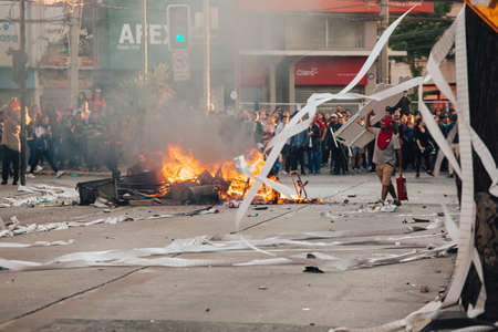 QUILPU? ?, CHILE - OCTOBER 20, 2019 - Barricades during protests of the