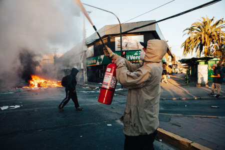 QUILPUE, CHILE - OCTOBER 20, 2019 - Barricades during protests of the