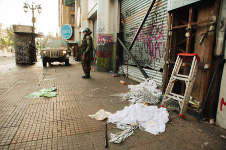 SANTIAGO, CHILE-OCTOBER 29, 2019 - Clothing store is looted during the protests of the Editöryel
