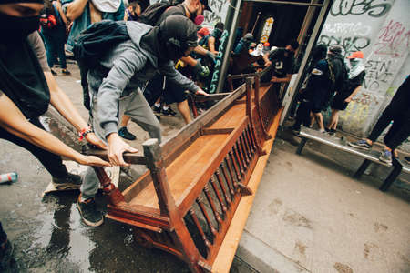 SANTIAGO, CHILE-NOVEMBER 8, 2019 - Protesters loot the church
