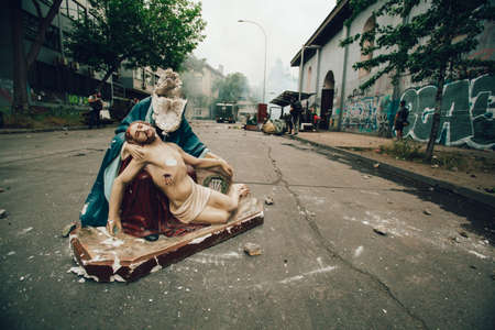 SANTIAGO, CHILE-NOVEMBER 8, 2019 - Remains of religious statue looted of the church