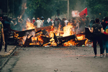 SANTIAGO, CHILE-NOVEMBER 8, 2019 - Protesters barricade with looted furniture from the Sajtókép