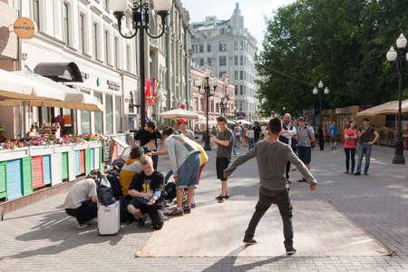 breakdance: Breakdance crew on Arbat Street, Moscow, Russia